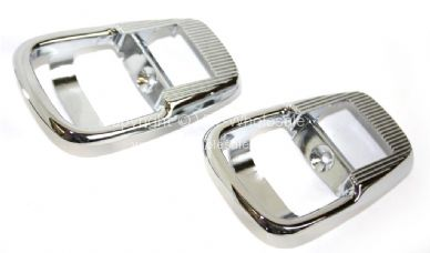 German quality chrome internal door release surrounds Bus 68-72 Ghis 71-74 Beetle 72-73 - OEM PART NO: 411837097CH