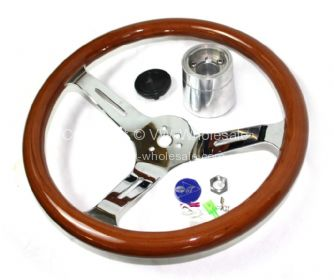 Empi 380mm/31mm Classic wood steering wheel with boss Beetle Ghia Type 3 - OEM PART NO: